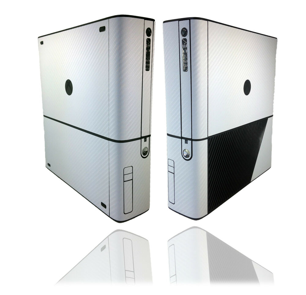 Textured White Carbon Skin Sticker For XBOX 360 E Super ...