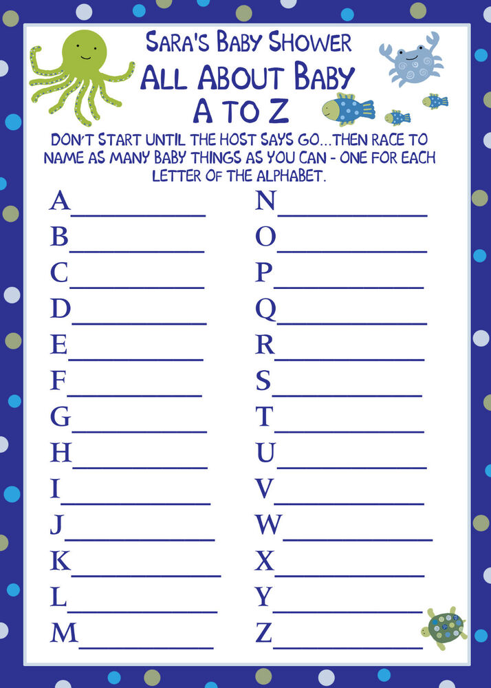 24 baby shower a to z baby game cards under the sea ebay