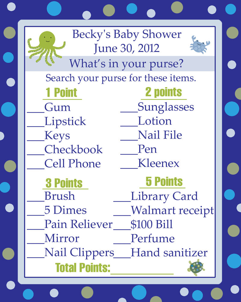 24 baby shower game cards whats in your purse game under the sea