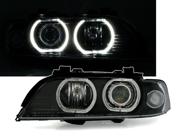 2 feux phare avant angel eyes led blanc bmw serie 5 e39 phase 1 95 2000 look f10 ebay. Black Bedroom Furniture Sets. Home Design Ideas