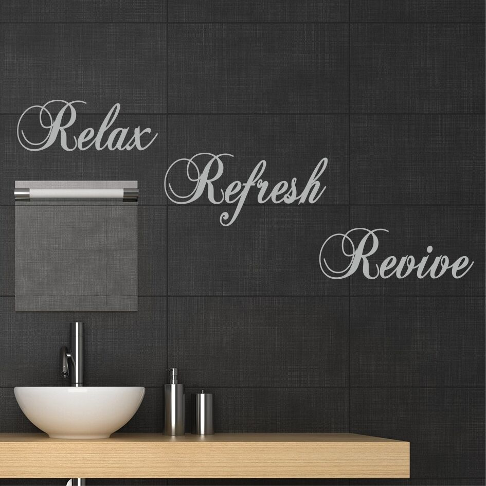 Relax refresh revive wall sticker quote decal mural for Bathroom stencils designs