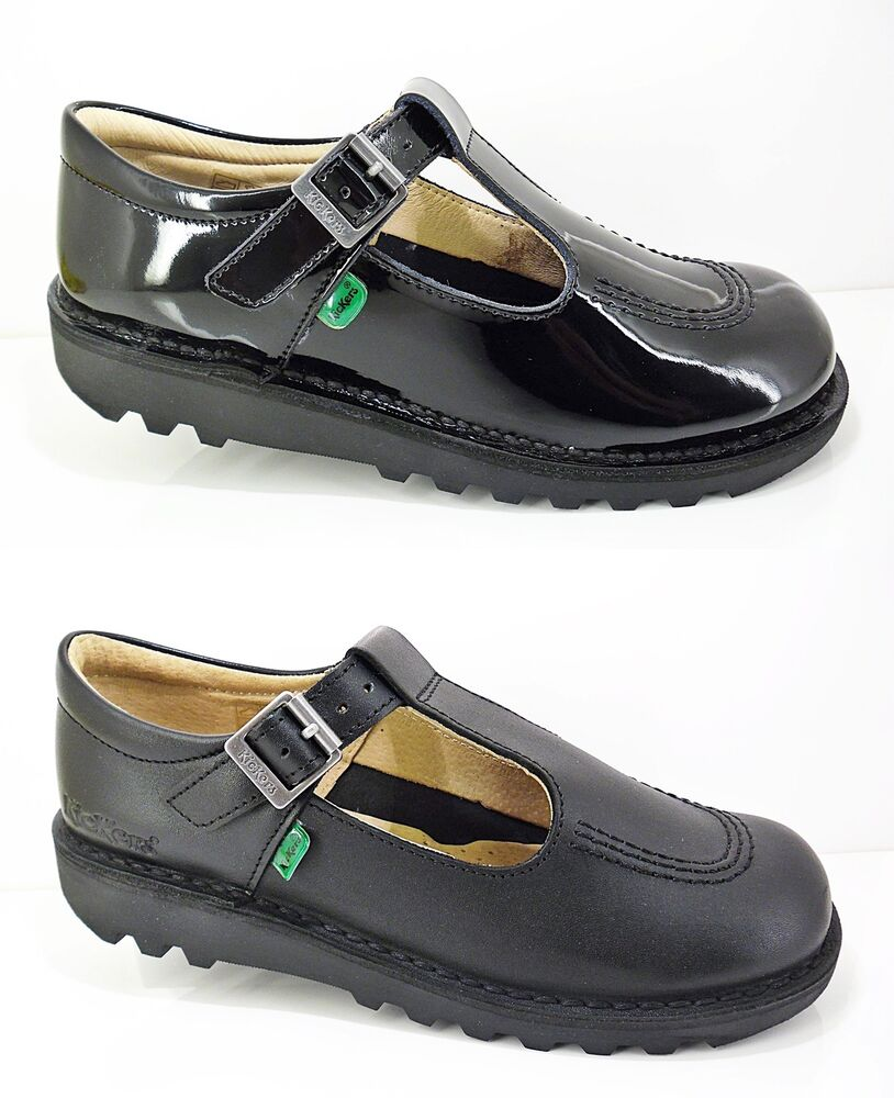 Girls KICKERS Shoes Black Leather School Patent Strap New T-Bar Casual Size 7-6 | eBay