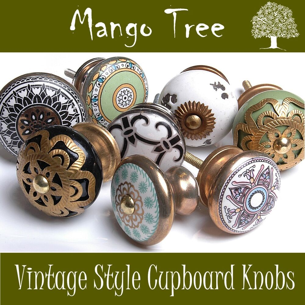 Ceramic Kitchen Cabinet Handles Drawer Pull Knobs Antique: Vintage Style Antique Finished Ceramic Cupboard Knobs