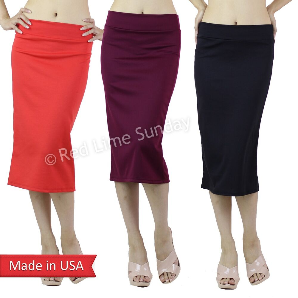 stretchy pencil below knee skirt bodycon solid color