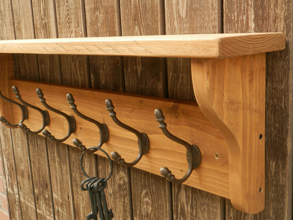 Reclaimed look wood hat and coat rack with shelf rustic