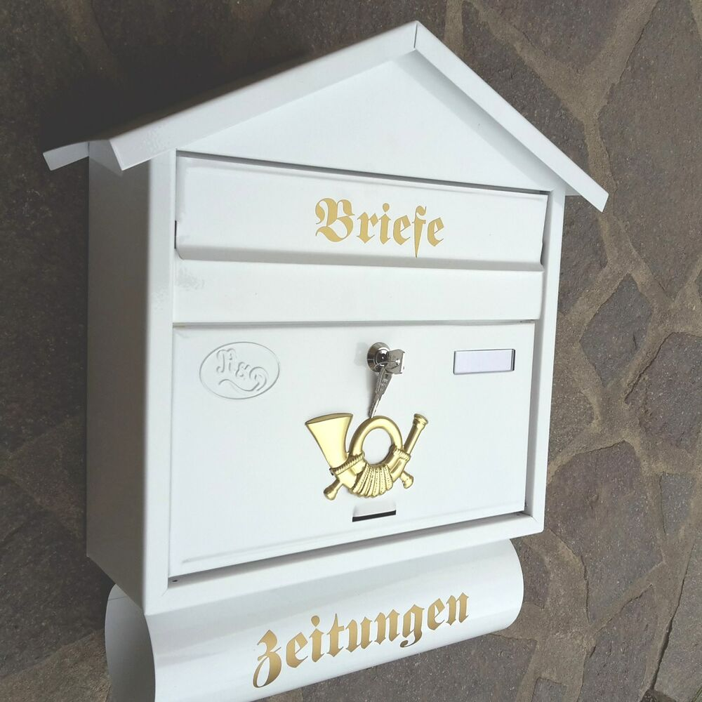xxl briefkasten postkasten wei zeitungsfach wandmontage nostalgie antik metall ebay. Black Bedroom Furniture Sets. Home Design Ideas