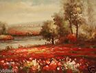 "Oil Painting On Canvas 12""x 16"" ~ Red Flower Fields"