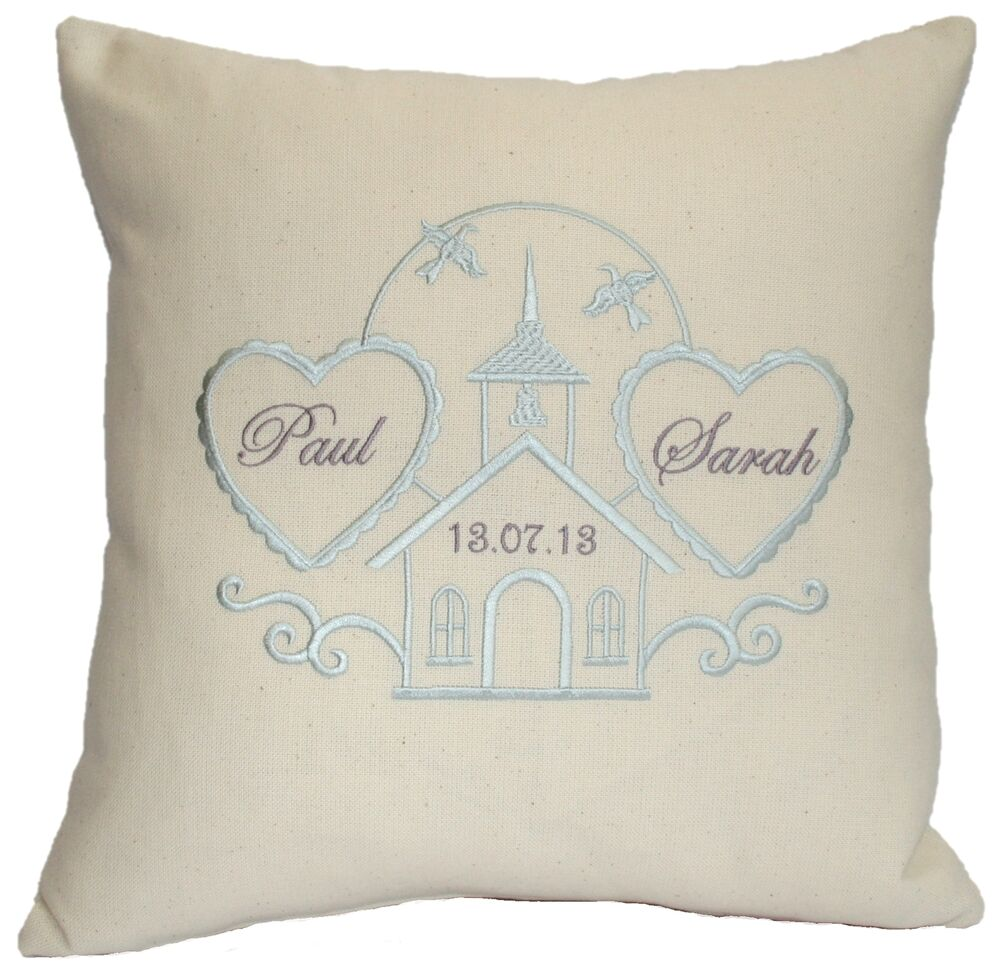 Wedding cushion cover embroidered personalised chapel