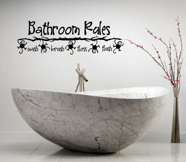Bathroom Lettering Decor : Bathroom rules monkey vinyl lettering bath words decor