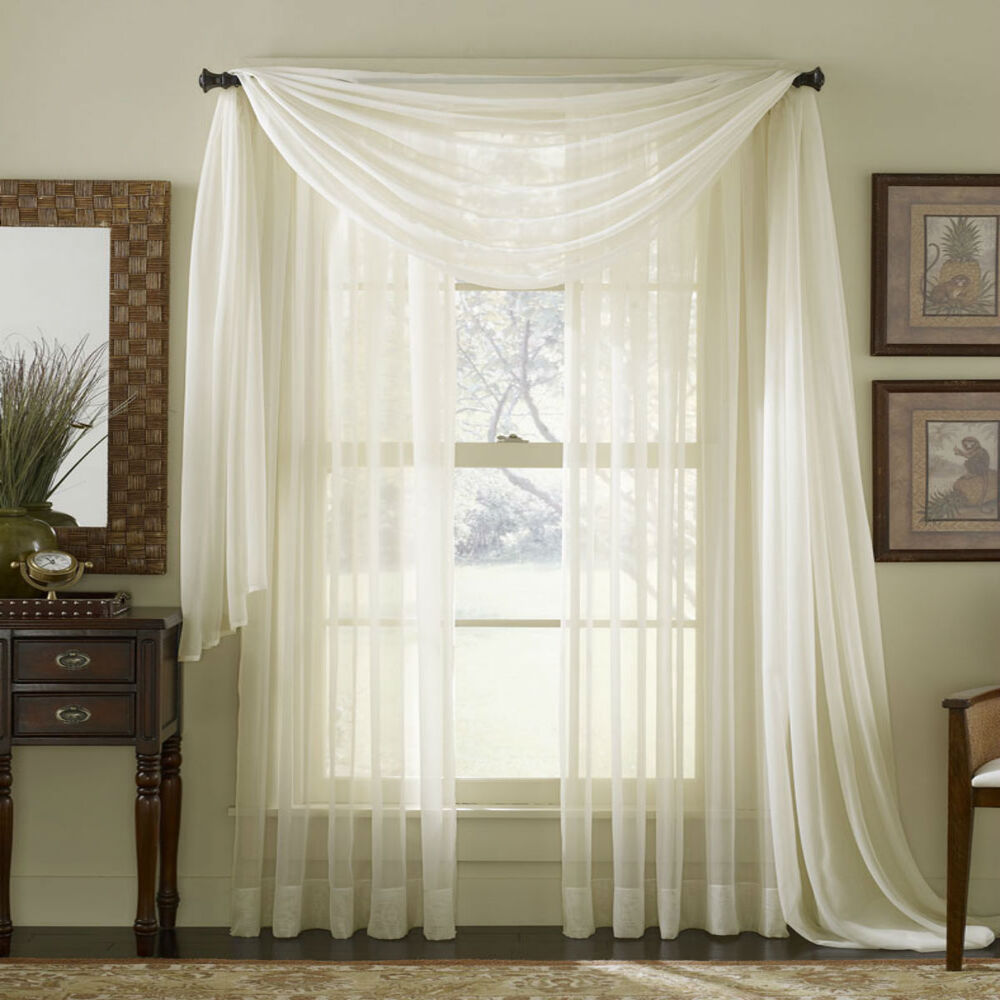 Sheer Plain Voile Scarf Curtain Panel Sets Net Sheer White
