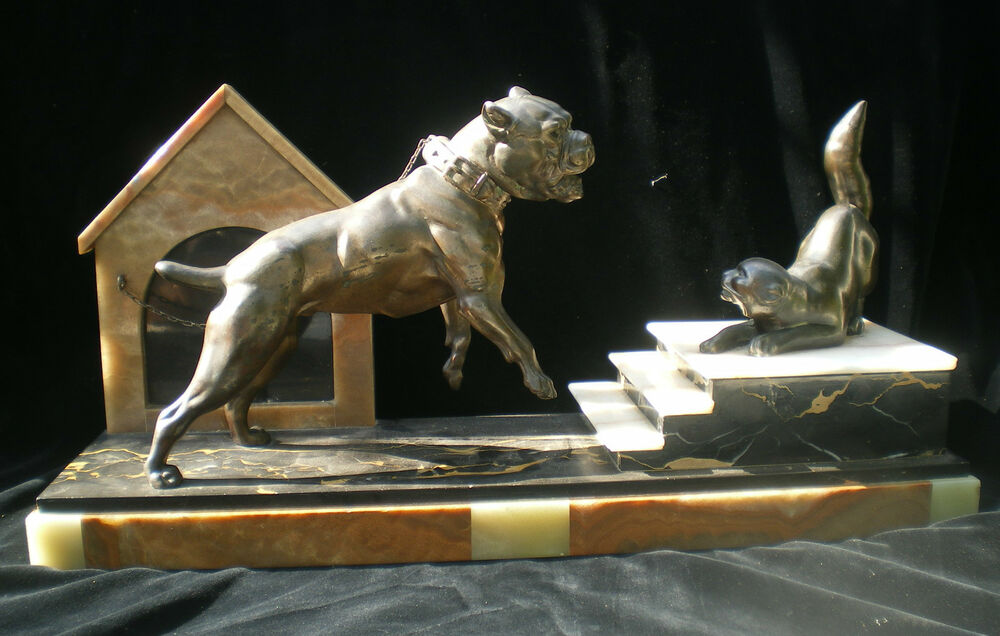 statue regule art deco chien bouledogue et chat onyx marbre ebay. Black Bedroom Furniture Sets. Home Design Ideas
