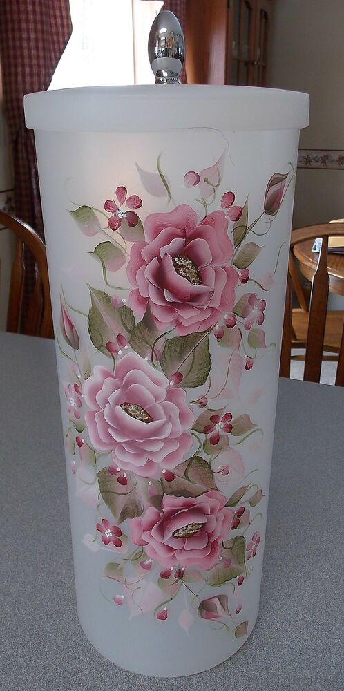 Hand Painted Rose Roses Toilet Paper Canister Container