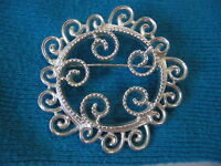 VINTAGE SARAH COV WHIRLING SILVERY MIST PIN BROOCH
