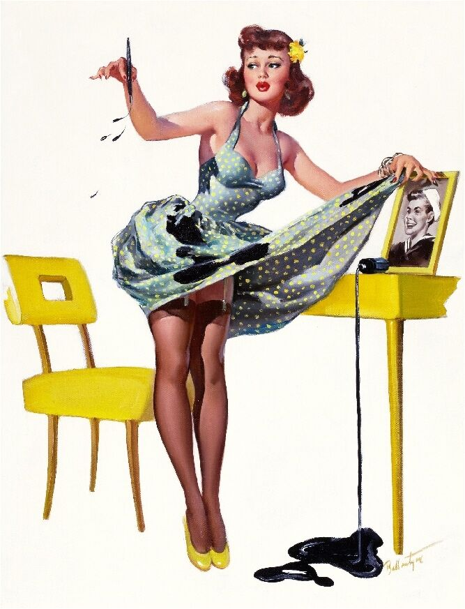 1940s pin up girl spilled the ink picture poster print art pin up ebay. Black Bedroom Furniture Sets. Home Design Ideas