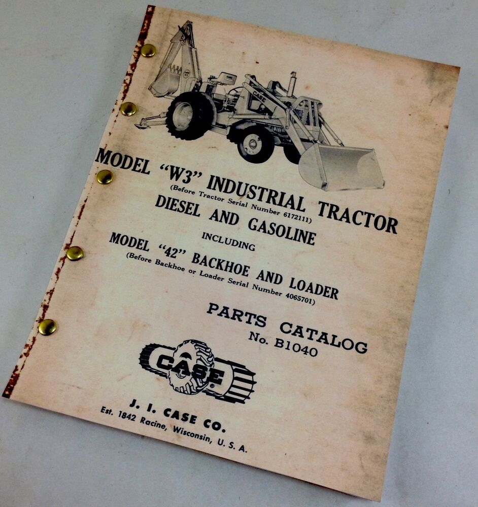 Tractor Parts Catalogues : J i case w industrial tractor diesel gasoline parts