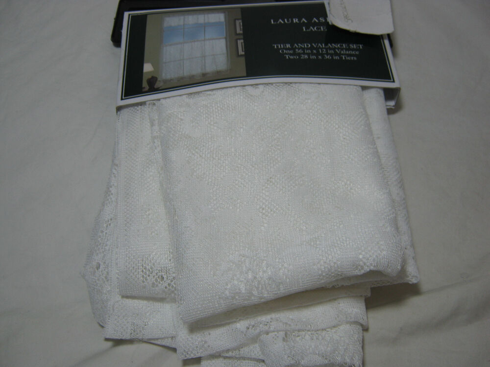 New 3 PC Laura Ashley Lace Tier 56x12 and Valance 2(28x36) Set - Off ...