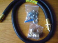 GAS COOKER FITTING KIT - PIPE + CHAIN & HOOK+ CONNECTOR - FREE STANDING COOKERS.