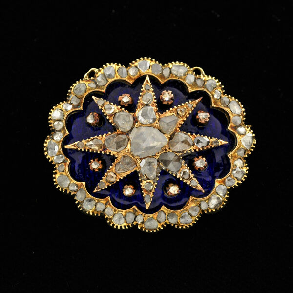 Antique Victorian Starburst Motif 14k Gold Rose Cut