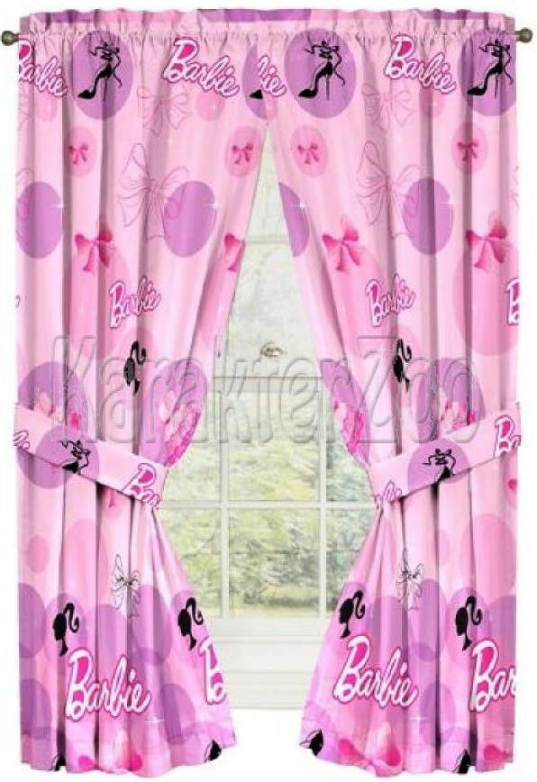 mattel barbie 84 wide x 63 inch long 213 x 160 cm drapes tiebacks ebay. Black Bedroom Furniture Sets. Home Design Ideas
