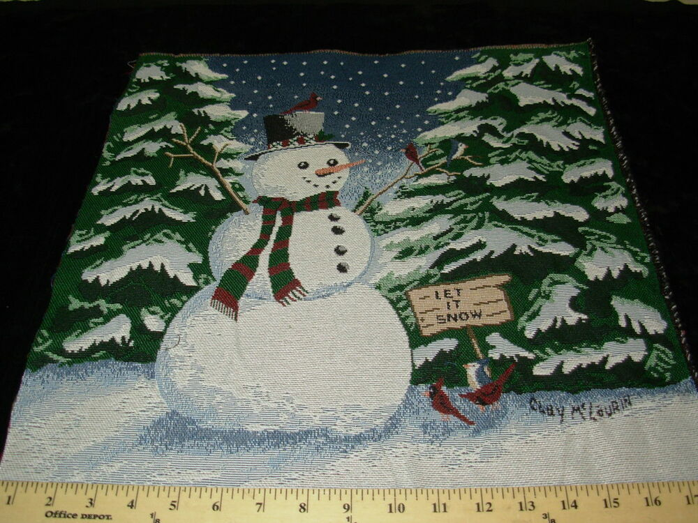 Snowman Let It Snow Tapestry Pillow Panel Upholstery