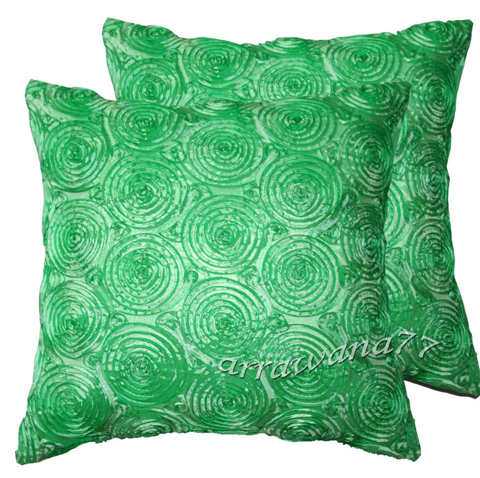 Decorative Pillow Cases : 2 Thai Silk Decorative Embroidery Pillow Cushion Cover Cases Green eBay