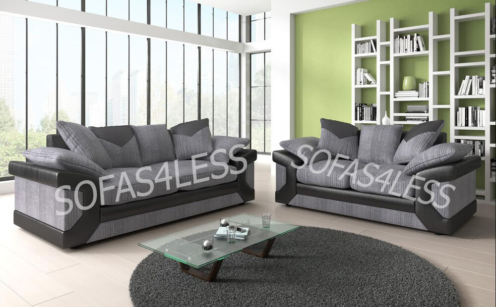 huge sale new dino 3 2 seater sofa fabric faux leather black grey brown cheap ebay. Black Bedroom Furniture Sets. Home Design Ideas