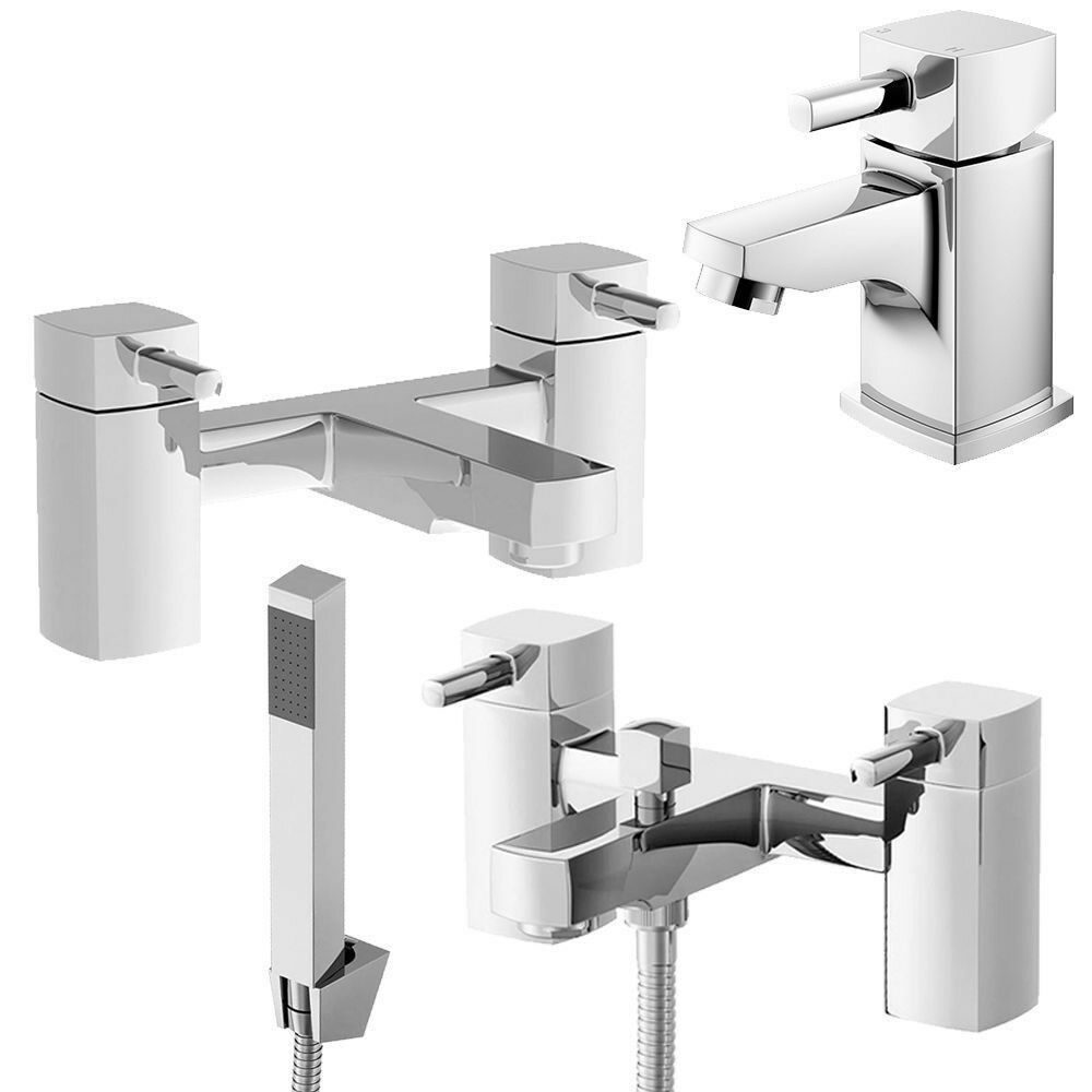 Chrome Square Bathroom Bath Shower Mixer Filler Taps Set