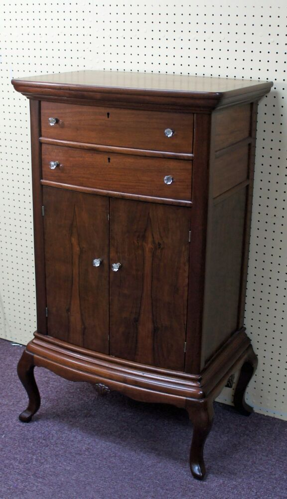 antique rosewood mahogany 2 drawer door music stand cabinet with glass knobs ebay. Black Bedroom Furniture Sets. Home Design Ideas