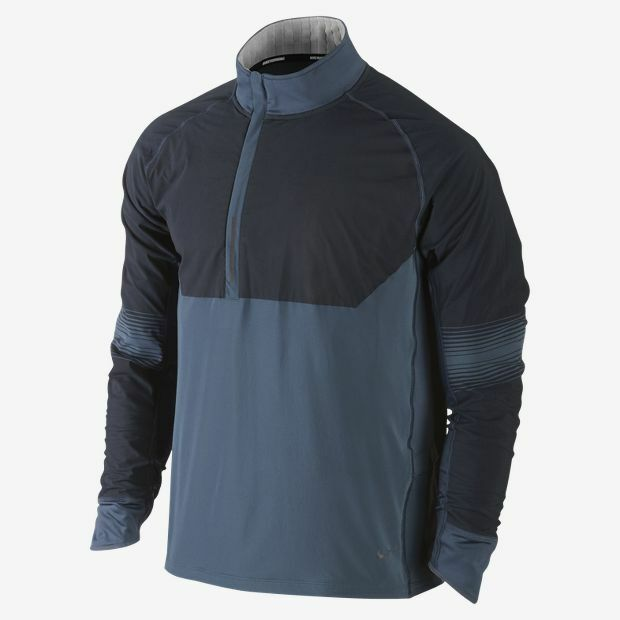 92c0d36d9fa3 Details about NIKE DRI FIT SPHERE RUNNING 1 2 ZIP MENS TRACK JACKET S SM  BLUE THERMAL 519785