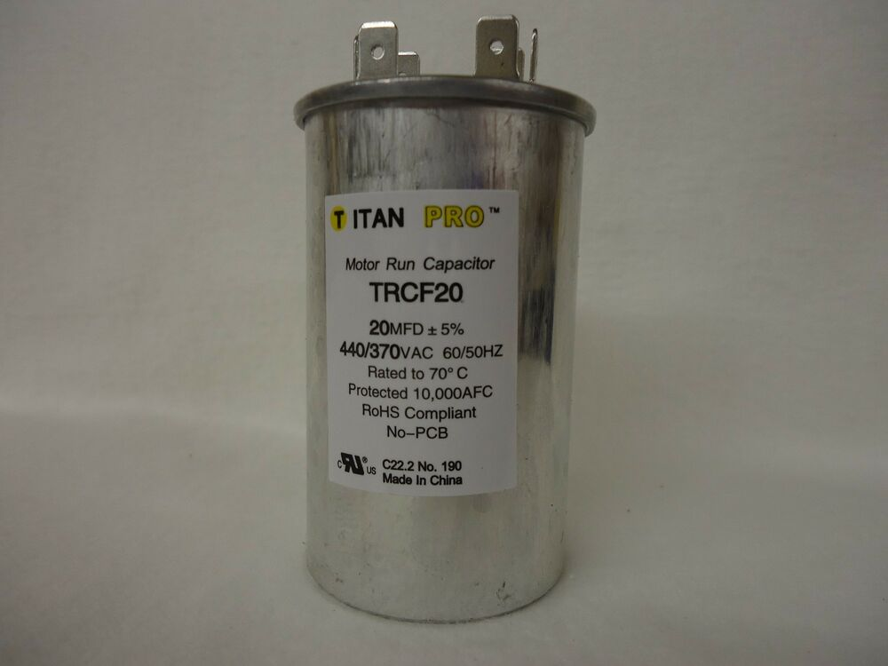 Packard trcf20 20 mfd 440 370 vac round run capacitor for 370 volt 10 mfd motor run oval capacitor