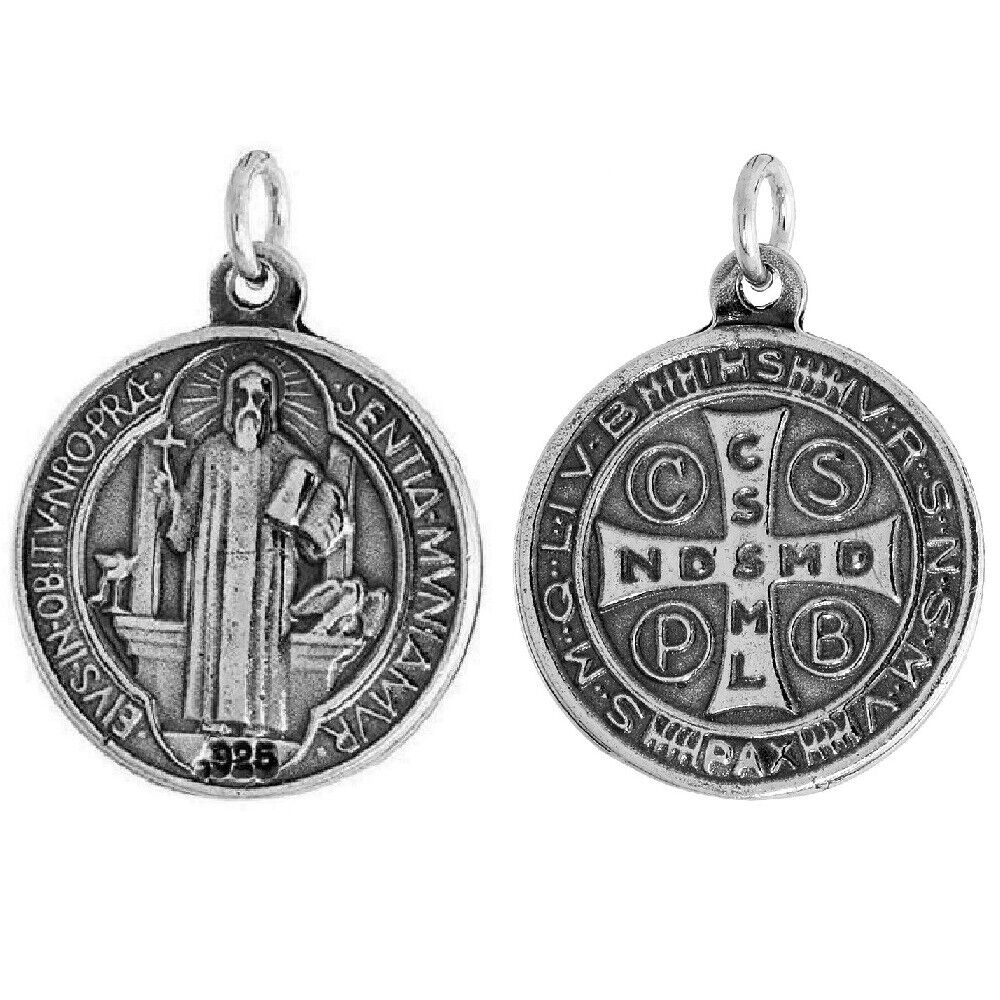 7 8 Quot 21mm Sterling Silver St Benedict Round Shaped