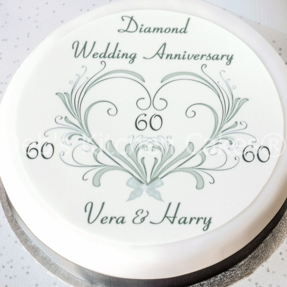 60th wedding anniversary cake topper personalised diamond wedding wafer ebay - Th anniversary cake decorations ...