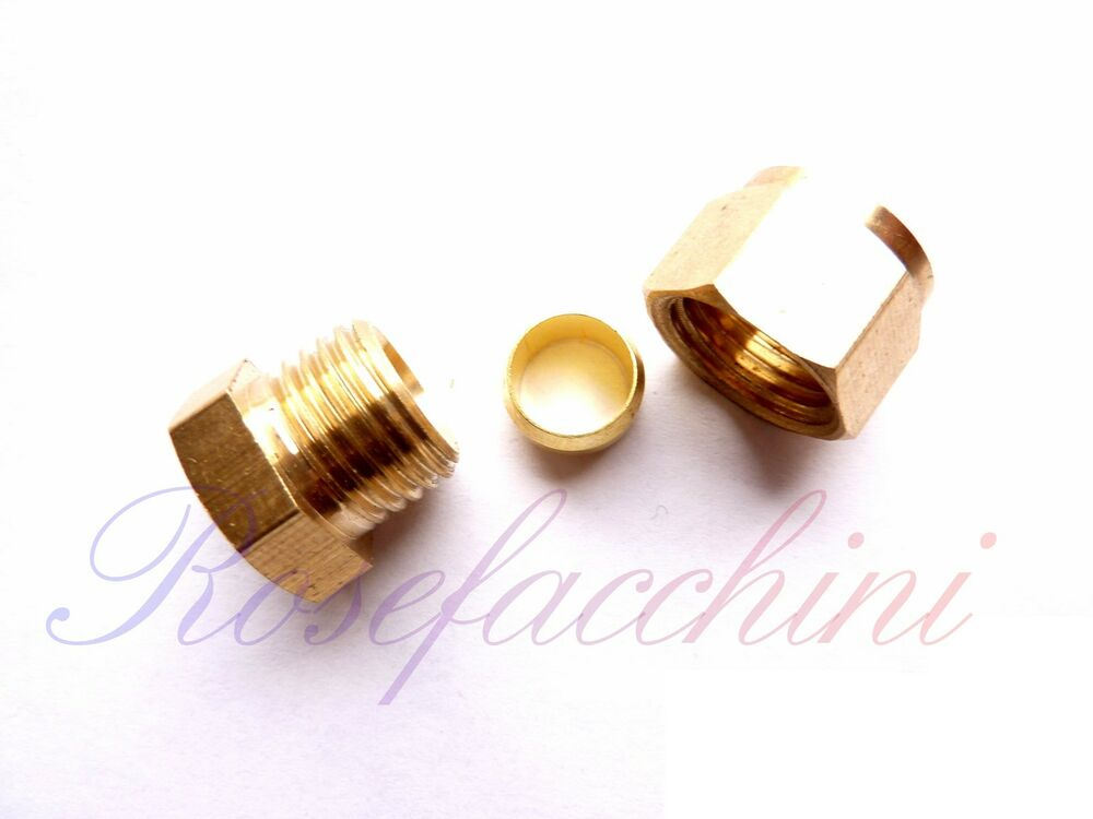 Brass compression fitting joint stop end cap olive nut