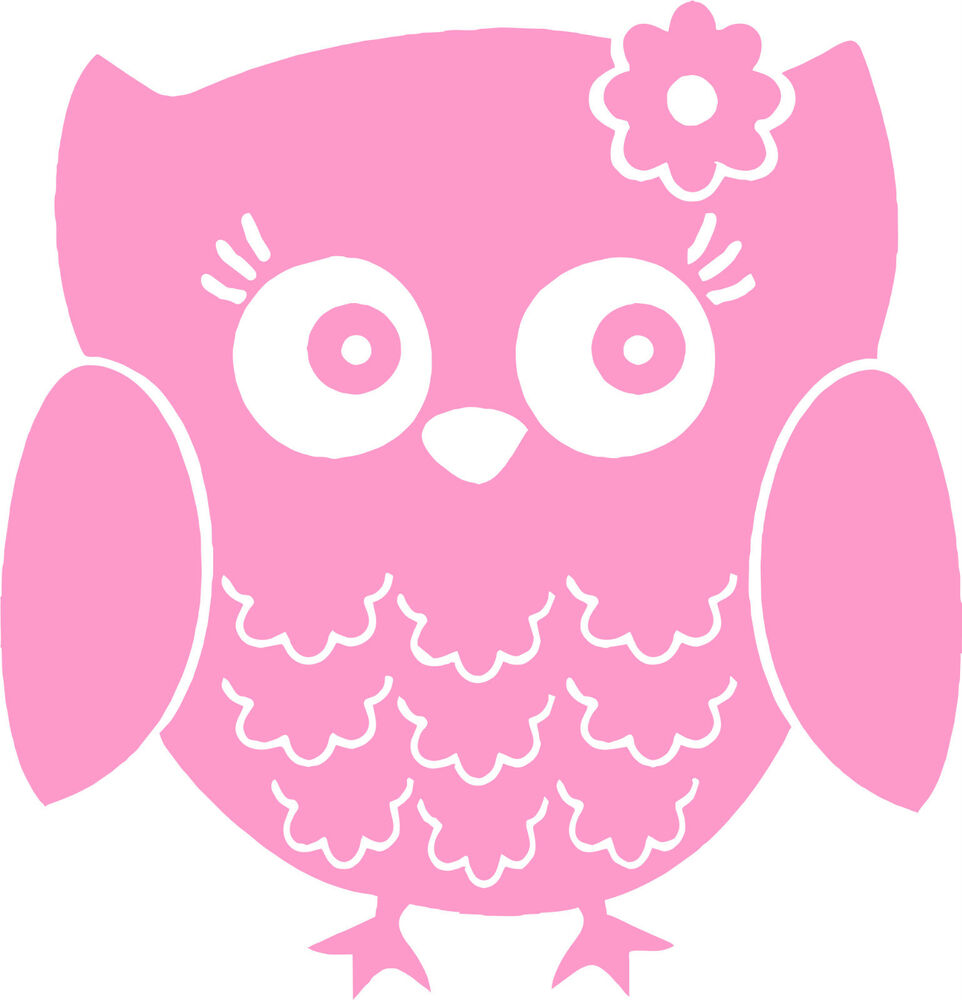 Cute Owl Pink White Or Black Vinyl Wall Cutout Sticker