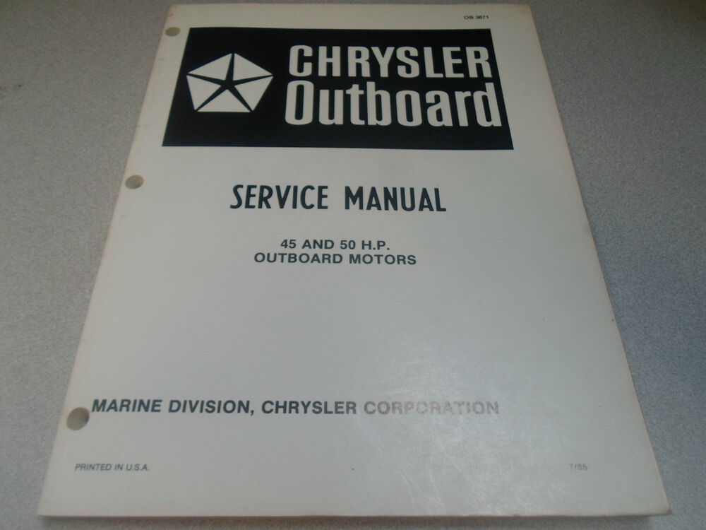 Chrysler Outboard Owners Manual Ob863
