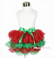 XMAS Christmas Hot Red Green Baby Girl Petal Pettiskirt with Green Big Bow NB-8Y