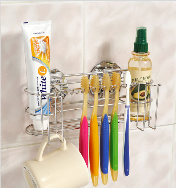 6 Toothbrush Holder Stainless Steel Rack Dual Vacuum