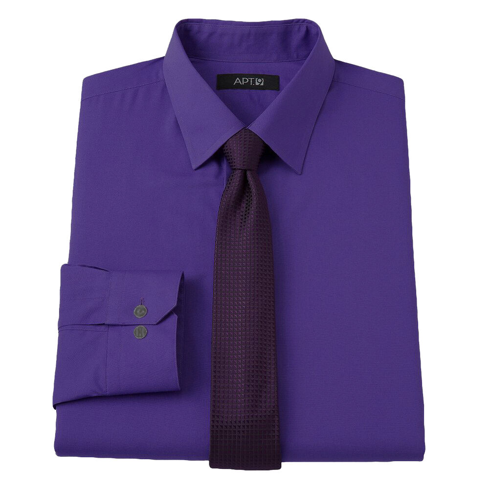new apt 9 men 39 s slim fit spread collar dress shirt purple