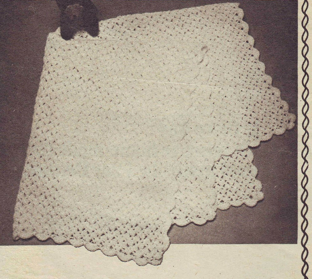 Crochet Baby Blanket Patterns 4 Ply : Baby Vintage Crochet Shawl Pattern- 4 ply eBay
