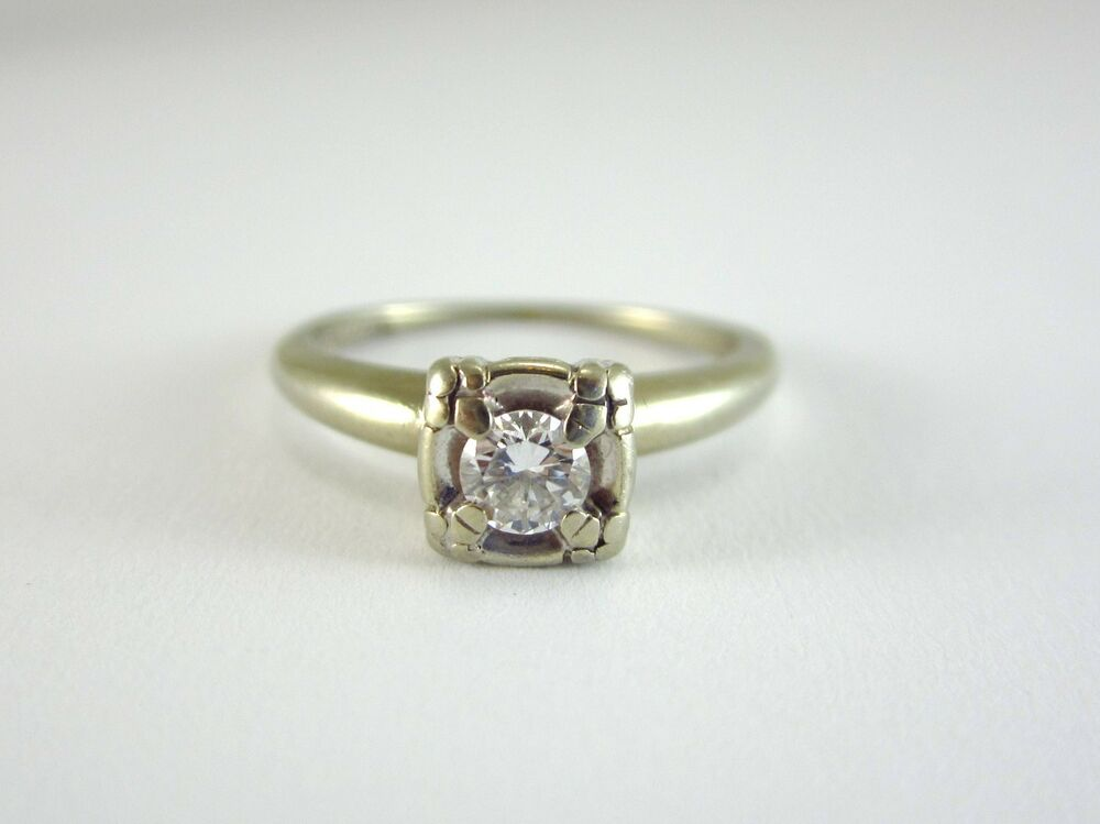 BEAUTIFUL LADIES 14K GOLD DIAMOND SOLITAIRE ENGAGEMENT RING 2.2G 0 ...