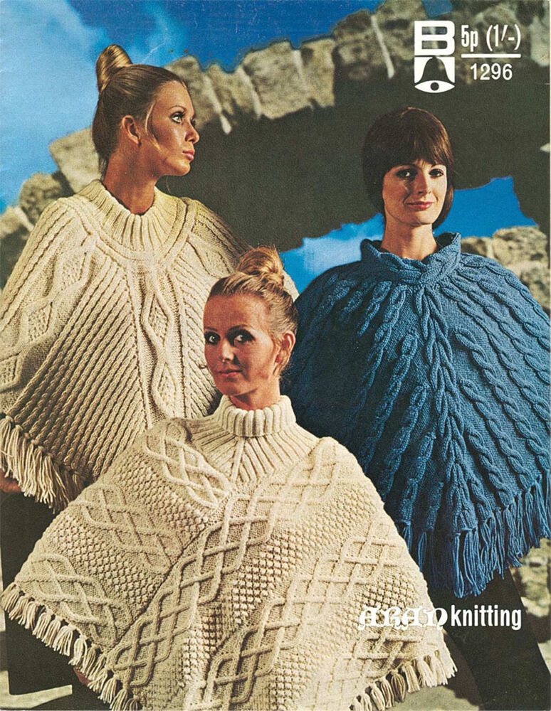 Ladies Vintage Aran Ponchos Knitting pattern- Winter Knit eBay