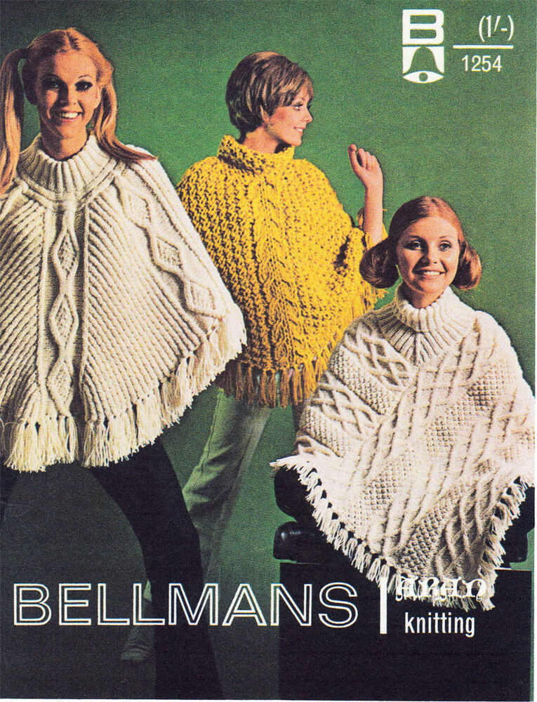 Ladies Vintage Aran Poncho Knitting pattern- Lovely old Pattern eBay