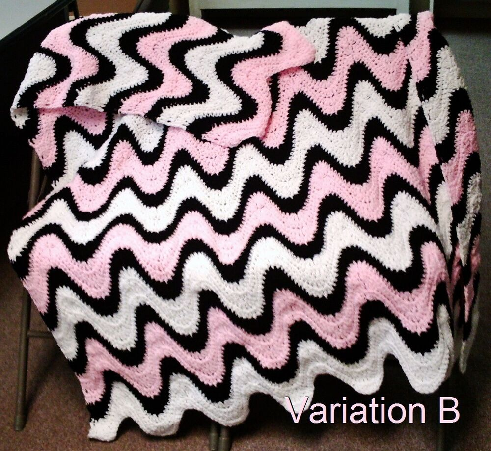 3 Color Exaggerated Ripple Afghan Throw Crochet Pattern