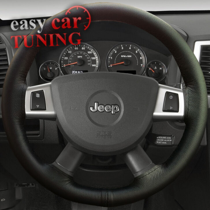 for jeep grand cherokee wk black real genuine leather steering wheel cover new ebay. Black Bedroom Furniture Sets. Home Design Ideas