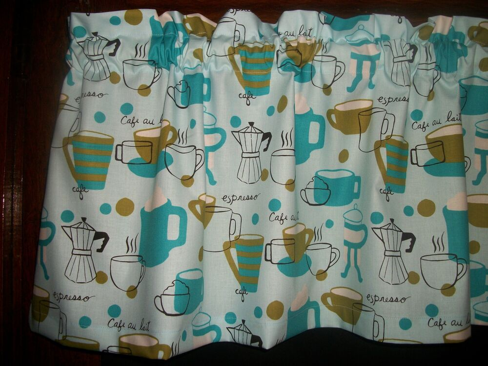 Valance Retro Turquoise Olive Green Coffee Cup Espresso