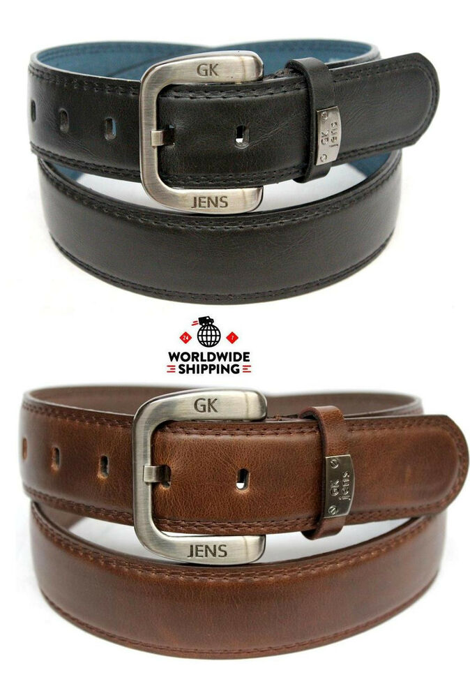new mens casual dress leather belt black brown plain solid