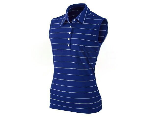 Nike golf womens tech stripe sleeveless polo shirt dri fit for Women s dri fit golf shirts