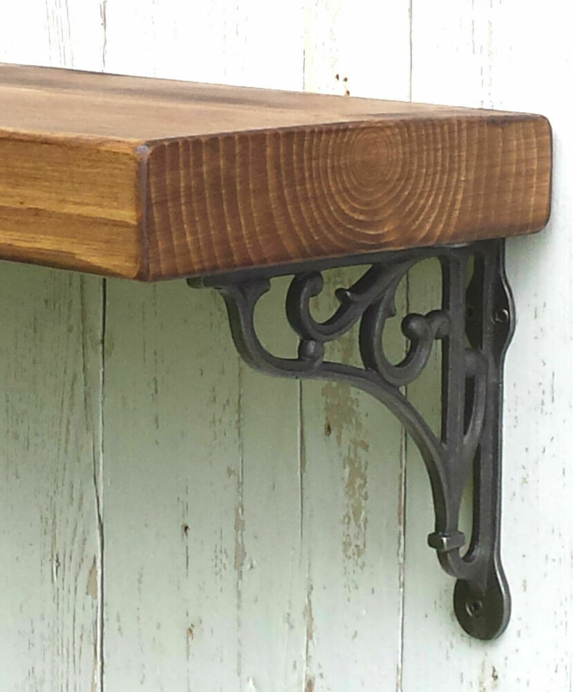 Rustic Solid Wood Mantel Floating Shelf With Cast Iron