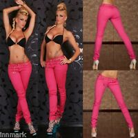161 SEXY SKINNY TROUSERS STRETCH SLIM PINK JEANS incl. BELT SIZE UK 8 10 12 14