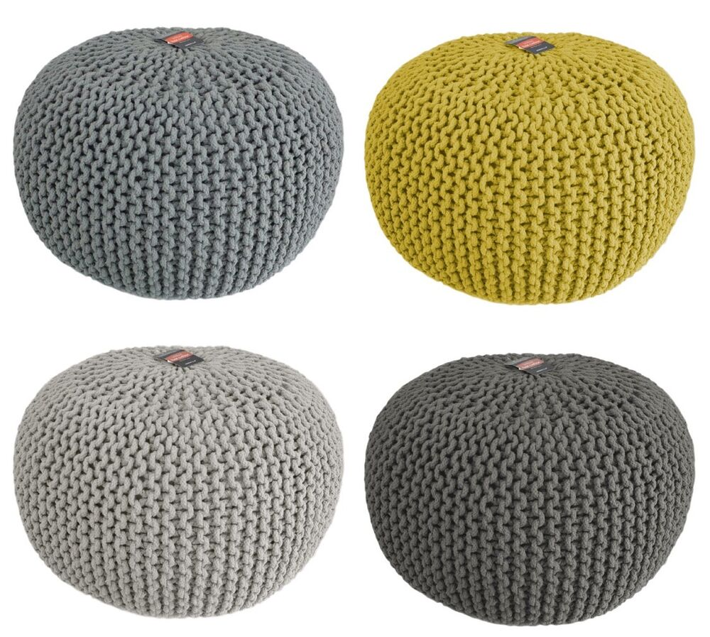 Chunky Knit Knitted Pouffe Foot Stool Cushion Contemporary